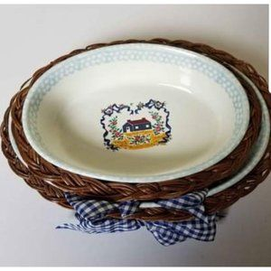 🌼2 Nesting serving dishes w/wicker basket cottage